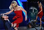 """好莱坞女星塞隆出席MTV电影奖 台上""""暴打""""法斯宾德"""