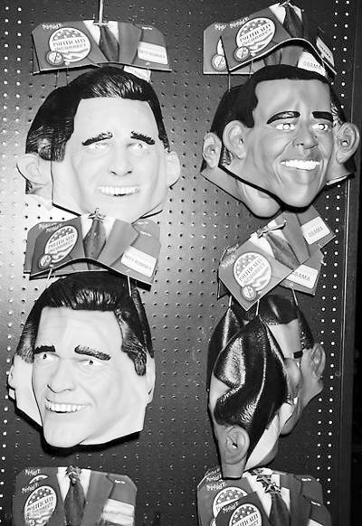罗姆尼/美国总统奥巴马与共和党总统候选人罗姆尼的万圣节面具。