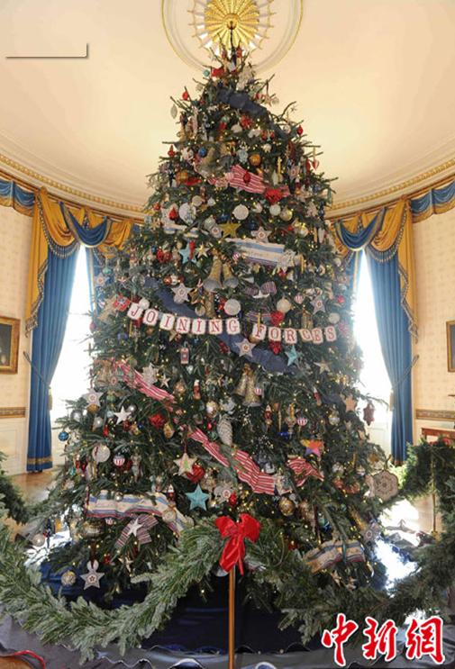 装饰 美国 华盛顿/美国白宫装饰一新迎接圣诞