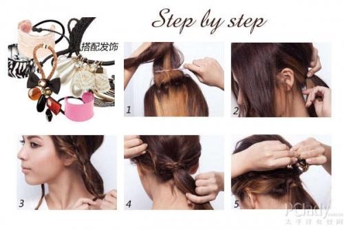 3. 分别将两侧发束往后编成细蜈蚣辫,辫子不需编太整齐.