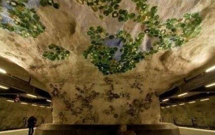 整个柱子和天花板都被一棵参天大树包裹