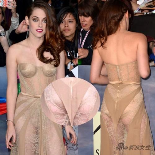 裸色透视装露内裤
