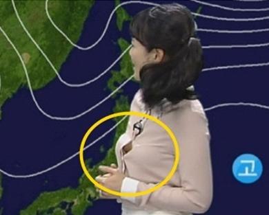 韩美女主播报新闻时上衣爆开图