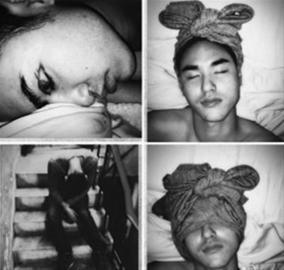 阮经天/阮经天近日在微博上传了自己喝醉酒后被整的图片,图片中的他...