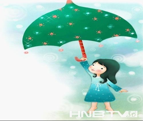 举着雨伞空中飞翔的小女孩.(资料图:来源于网络)