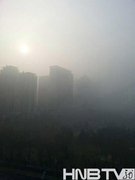 哈尔滨再现雾霾天气 机场航班全线延迟