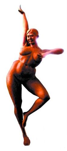 """韩邵楠) 今天沈阳中街某商场里展出""""武松杀潘金莲""""的雕塑,潘金莲半裸"""