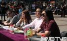 大赛导演张娜(左)、主持人梁枫(中)、大赛导演王恒斌(右)