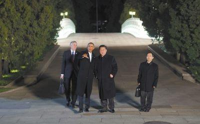 11日晚,习近平在中南海瀛台与奥巴马举行会晤.