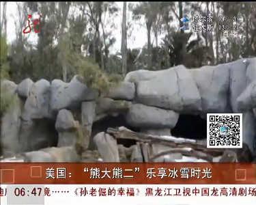 """美国动物园为""""熊大熊二""""人工造雪享受冬日乐趣"""