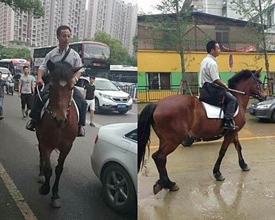 武汉男子放弃私家车 骑马上班防迟到