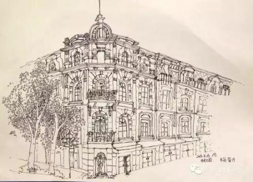 西安交大学生手绘哈尔滨 称建筑与人完美的融合