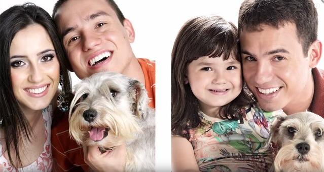 巴西男子悼念亡妻 与女儿重拍当年温馨照(组图)