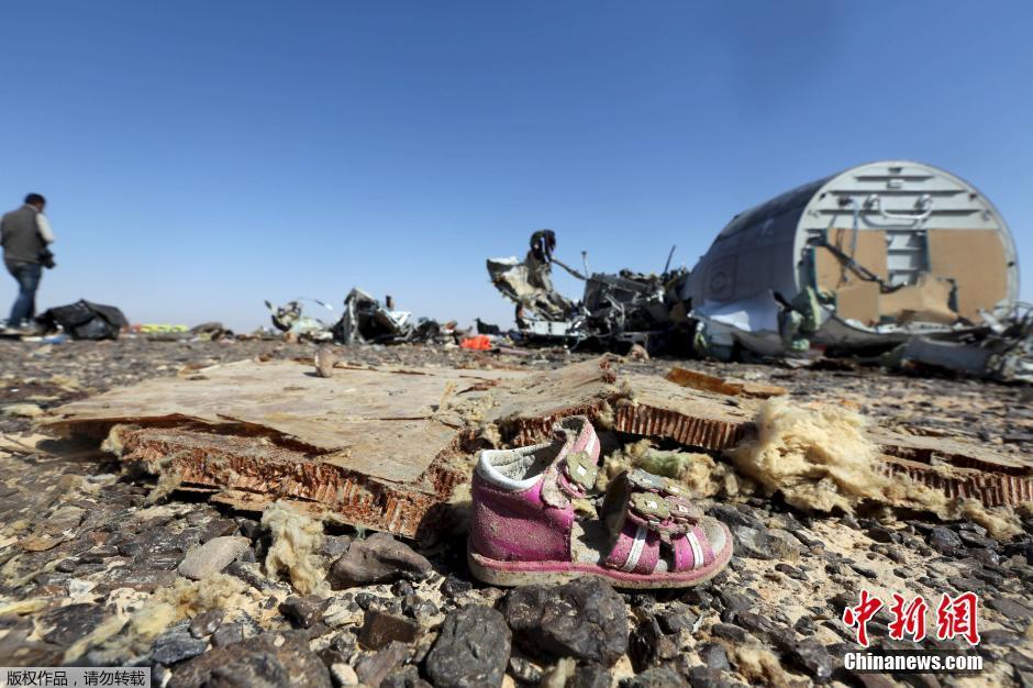 事故调查人员在俄罗斯客机失事现场勘查