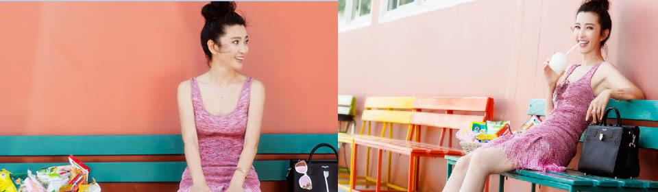 李冰冰晒美照 扎丸子头穿粉色裙子少女感满满