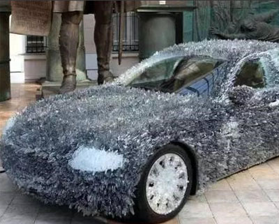 为防碰瓷拼了!车主用玻璃渣改装玛莎拉蒂