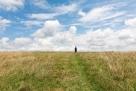 渺小的人类。美国田纳西州的大草原。