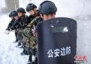 图为边防官兵小组战术搜索训练。