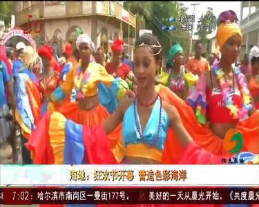 海地狂欢节开幕营造色彩海洋