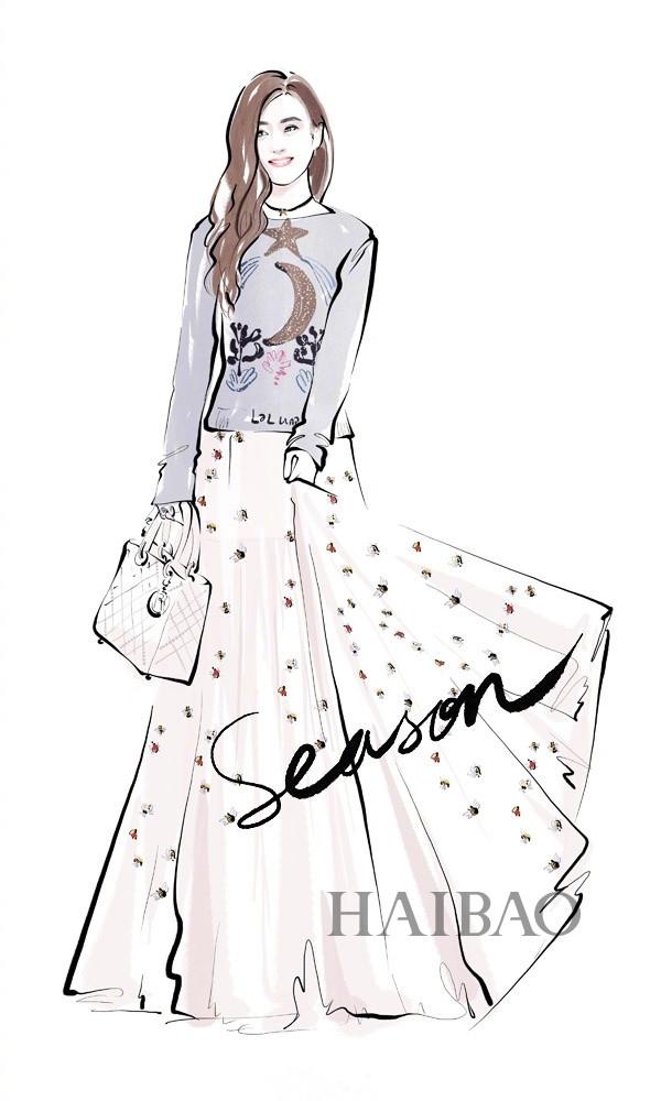 送你一组明星红毯礼服插画图片